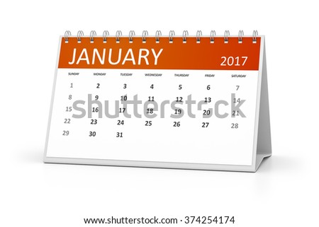 An image of a table calendar for your events 2017 january