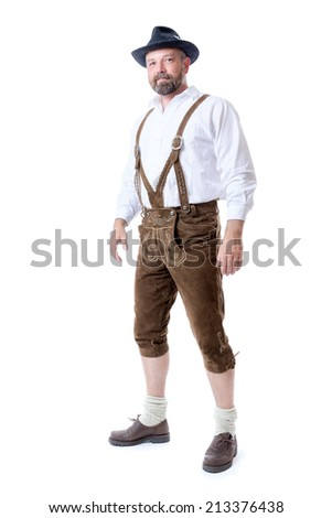 An image of a traditional bavarian man isolated on a white background - stock photo
