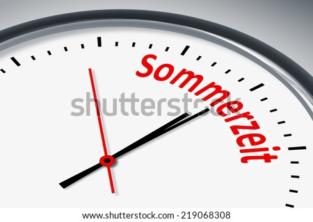 An image of a typical clock with text daylight saving time in german language