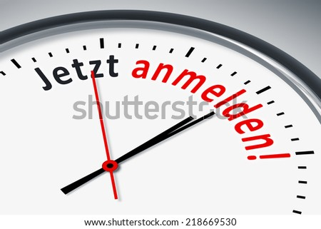 An image of a typical clock with text sign up now in german language