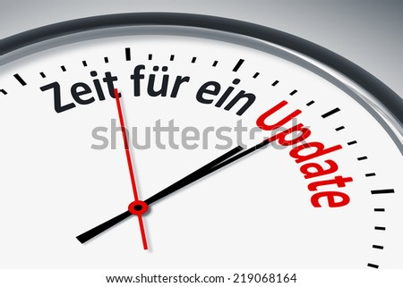 An image of a typical clock with text time for an update in german language