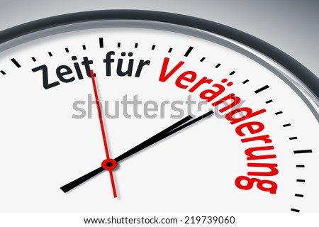 An image of a typical clock with text time for change in german language