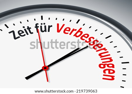 An image of a typical clock with text time for improvement in german language