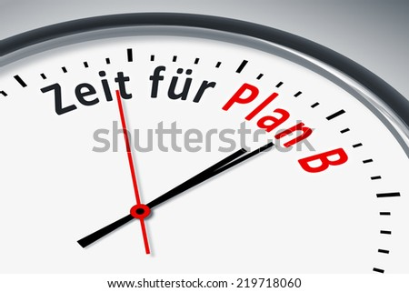An image of a typical clock with text time for plan b in german language