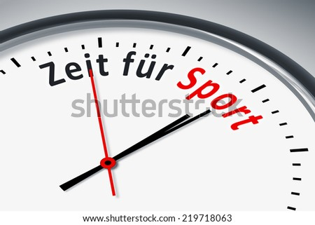 An image of a typical clock with text time for sports in german language