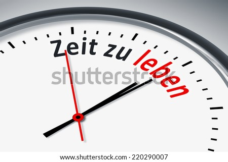 An image of a typical clock with text time to live in german language