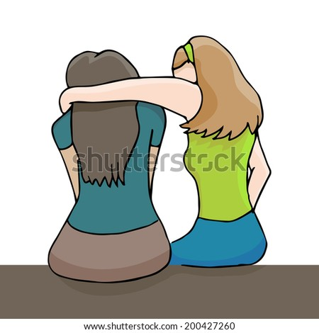 An image of a woman comforting a depressed woman. - stock photo