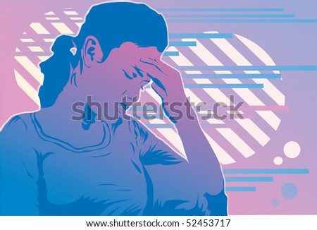An image of a woman holding her head as though she is suffering from a headache