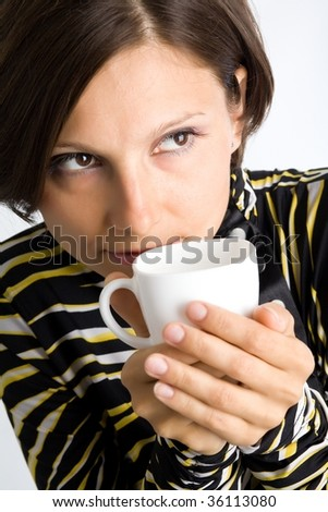 An image of a woman with white cup