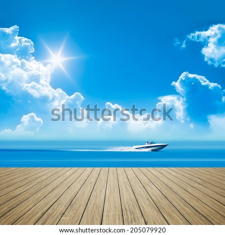 An image of a wooden jetty speed boat