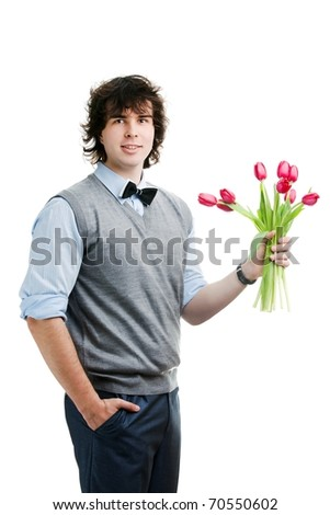 An image of a young boy with flowers