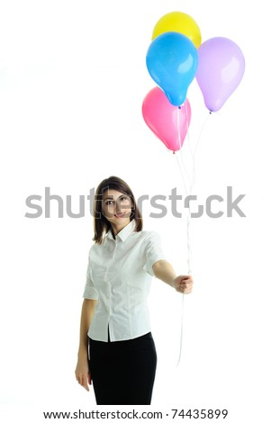 An image of a young woman with balloons - stock photo