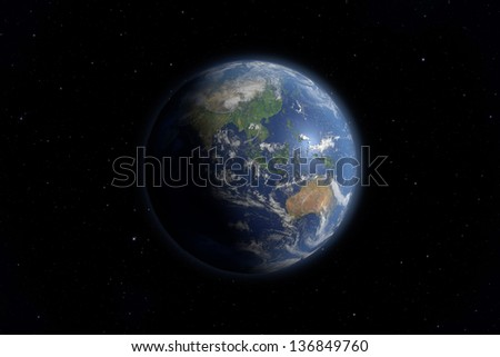 An image of an Earth view from space. Elements of this image furnished by NASA. - stock photo