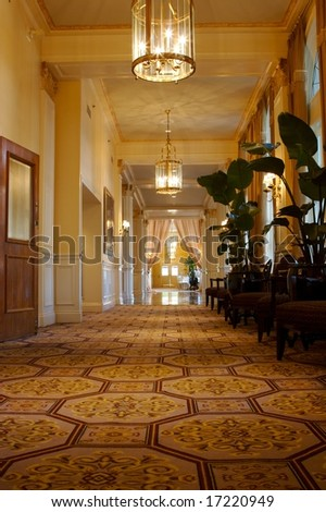An image of an elegant hallway in an upscale hotel - stock photo