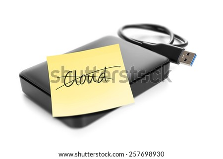An image of an external hard drive with crossed out text cloud - stock photo