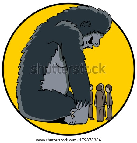 An image of an 800 pound gorilla in the room. - stock photo