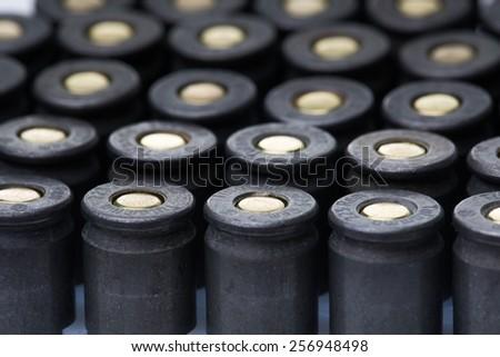 an image of ar15 m16 m4 kalashnikov cartridges upside down - stock photo
