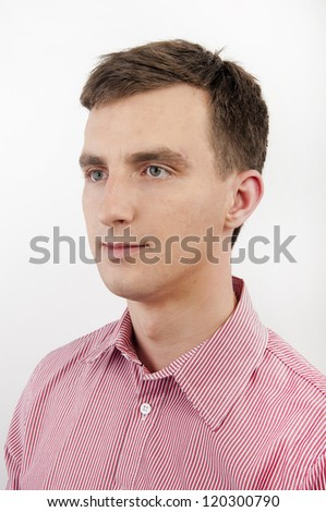 An image of atracttive young man on white background - stock photo