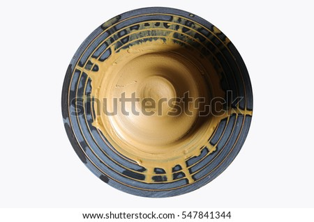 An image of ball of Clay on pottery wheel on white background
