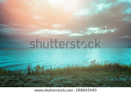 An image of baltic sea at the sunset - stock photo