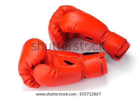 An image of big red boxing gloves