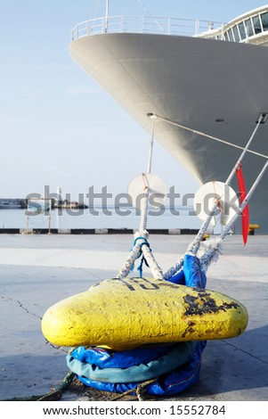 An image of big ship at pier - stock photo