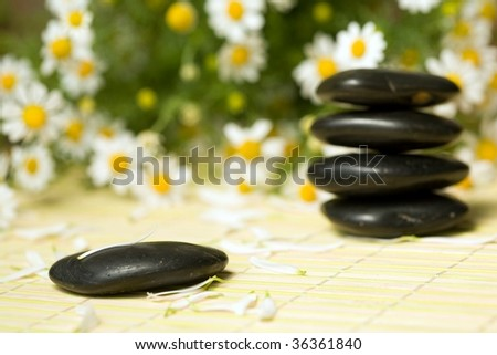 An image of black little stones for spa massage