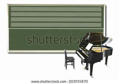 An Image of Blackboard And Piano