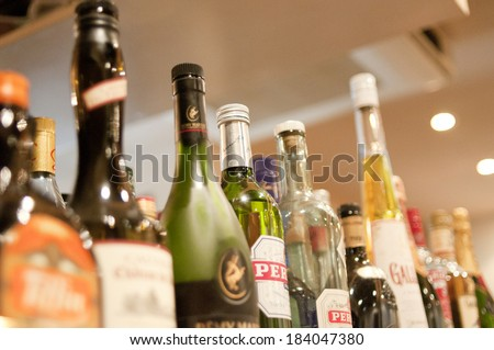 An image of Bottle of whiskey - stock photo