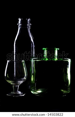 An image of bottles on black background