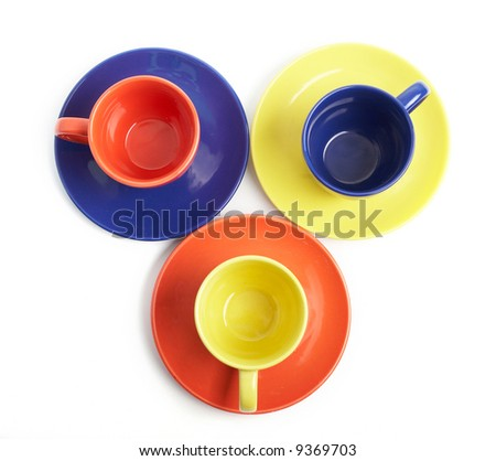 An image of color cups and saucers