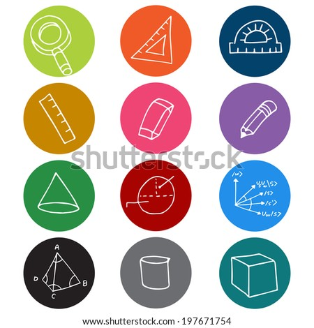 An image of colorful geometry icon symbols. - stock photo