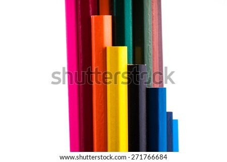 an image of Colour pencils isolated on white background close up