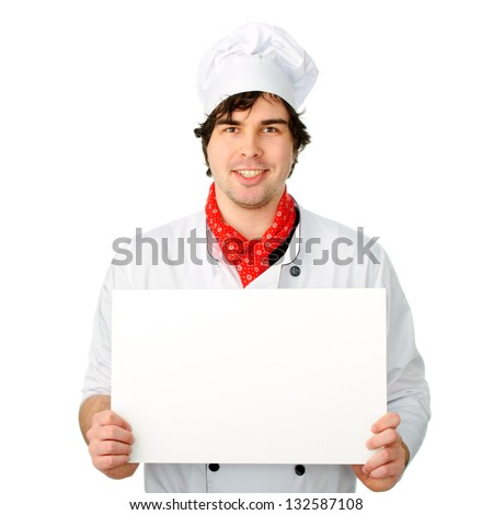 An image of Cook with white banner - stock photo