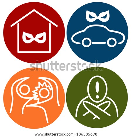 An image of crime alert icons. - stock photo
