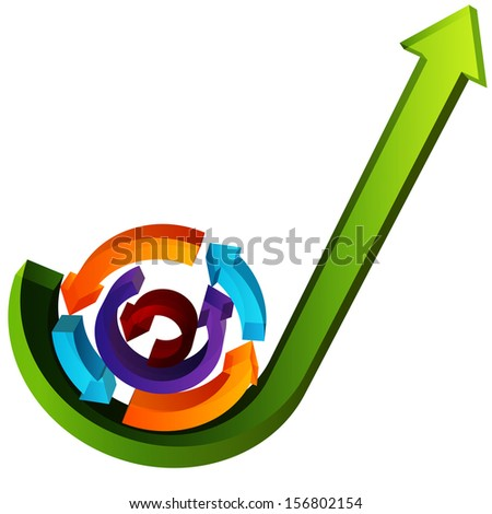 An image of 3d growth process arrows. - stock photo