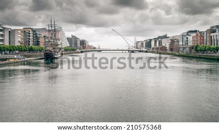 An image of Dublin Ireland with bad weather