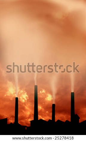 an image of factory chimney with smoke on sunset