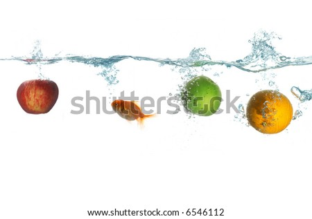 An image of fruit and goldfish - stock photo