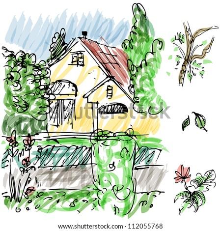 An image of garden house sketch. - stock photo