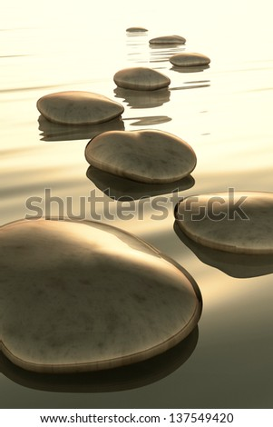 An image of golden light step stones - stock photo
