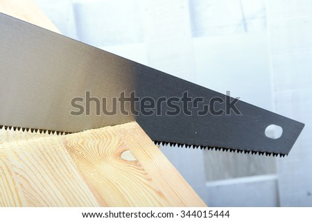 An image of hand saw on neutrall background