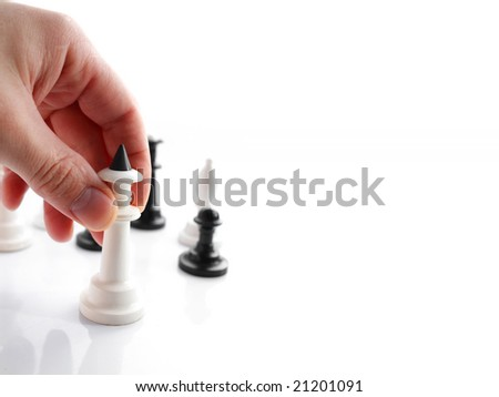 An image of hand with chess with area for text