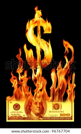an image of hundred dollar bill on fire - stock photo