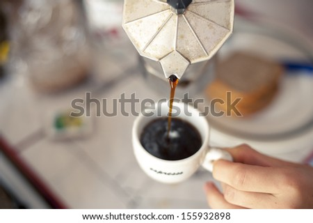 An image of Italian coffee brewing - stock photo