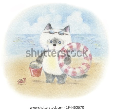 An image of Kitten and sea