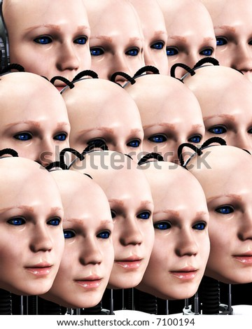 An image of lots of heads of technologically robotic women who have been duplicated, it would make a interesting background.