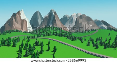 an image of low poly beautiful mountains landscape