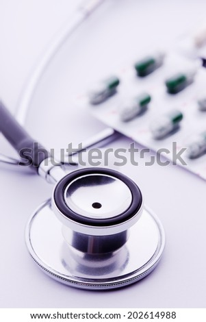 An Image of Medicine And Stethoscope - stock photo