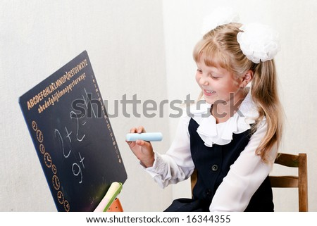 An image of nice little girl in school.